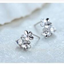 Dangle Jewelry Rhinestone Silver Plated Ear Studs Crystal Flower Earrings