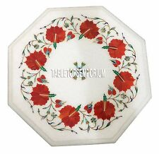 """12"""" White Marble Center Coffee Table Top Carnelian Gem Mosaic Floral Inlay Work"""