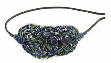 Black Purple Blue Flapper Headband 1920s Vintage Great Gatsby Headpiece 1930 V20