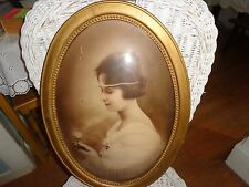 "Antique Wood Convex Bubble Glass Framed Woman Photo Victorian? Deco? 22.5"" X16"""