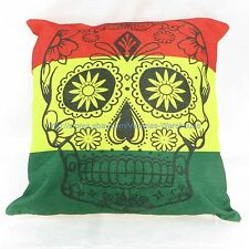 US Seller throw pillows sofa Rasta reggae sugar skull cotton linen cushion cover