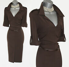 Karen Millen Dark Brown Jersey Collar Neck Shirt Casual Formal Dress UK10 EU38