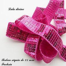 Ruban / Galon séquin paillette de 25 mm, vendu au mètre : Fuchsia