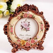 Retro Vintage Rose Flower Brown Home Decor Photo Frame Picture Resin 3.5''
