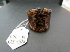 A BROWN & COPPER MURANO/ DICHROIC STYLE GLASS RING. UK SIZE K -- US 5.25  (67)