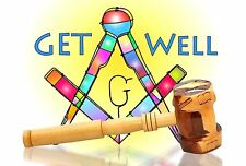 Art SQ & Gavel - Get Well - Masonic  - 12 Greeting/Note Cards w/envelopes