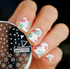 Nail Art Stamp Stamping Template Plate Image Triangle Floral Plaque #Qgirl-008