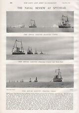 1897 ANTIQUE MILITARY PRINT- THE NAVAL REVIEW AT SPITHEAD, 2 PAGES