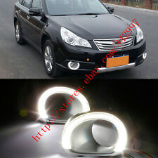 2x White LED DRL Driving Daytime Running Day Fog Lamp For Subaru Outback 2010-12