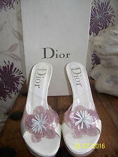 Christian dior blanc & rose mules taille 5 uk 38 eur