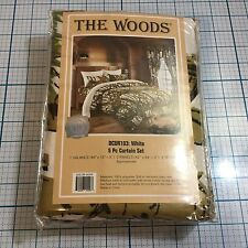 "NIP ""The Woods"" Camo 5 Piece Curtain & Valance Set White - Cabin - Forest"