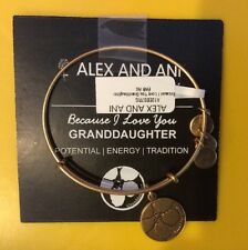 "ALEX AND ANI ""BECAUSE I LOVE YOU GRANDDAUGHTER"" BRACELET IN RUSSIAN GOLD! NWT"