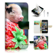 iPhone 5 5S Print Flip Wallet Case Cover! Baby Pig Sleep on Strawberry P0521