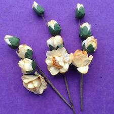6 x  Sprigs of Paper Rose, Embellishments, Wedding, Button Hole - UK seller
