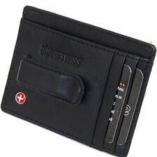 Alpine Swiss Men's Slim And Thin Money Clip Front Pocket Leather Wallet Black