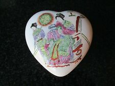VTG TOYO HP PRINCESSA 1988 FAMILLE VERTE PORCELAIN HEART-SHAPED  TRINKET BOX