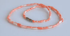 VINTAGE HAND CARVED PINK SALMON CORAL barrel beaded NECKLACE 16'' 11 GR