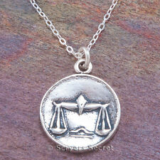 925 sterling silver LIBRA Charm ZODIAC Horoscope scales Pendant Necklace 2 sided