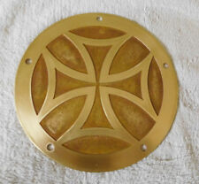 HARLEY TWIN CAM DERBY COVER -ALL Brass  iron cross etched deep -matte