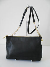 Michael Kors Jet Set Chain Top Zip Messenger Black Leather Shoulder Handbag