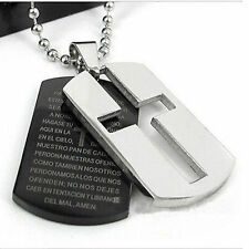 BIBLE CROSS Double Dog Tags Silver & Black Stainless Steel Necklace pendant UK