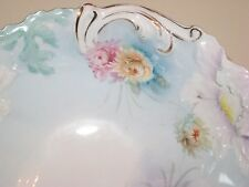 RS Prussia Blue Floral Bowl Chrysanthemums Art Nouveau Saxe Altenburg Antique
