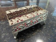 Vintage Mini Tissue Box Hollywood Regency Brass color Metal desk Holder flowers
