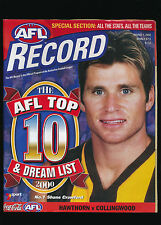2000 AFL Football Record Hawthorn vs Collingwood Magpies March 8-13 unmarked