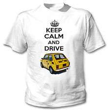 MALUCH POLISH FIAT 126 P KEEP CALM AND DRIVE 1 - WHITE COTTON TSHIRT