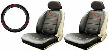 5P GMC CLASSIC BLACK SYNTHETIC LEATHER SIDELESS SEAT COVERS STEERING WHEEL COVER