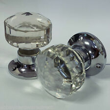 Glass Mortice Door Knobs Crystal Cut Handles Chrome Plated Backplate Pair