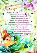 Children Learn What They Live  -  A4 Inspirational Laminated Picture Poster