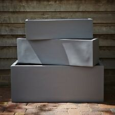 73cm Grey Fibrestone Contemporary Trough Planter/Plant Pot/Window Box/Container