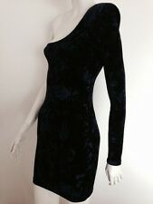 Like-Velvet One Shoulder Mini Dress w/ Shoulder Pads Size XS