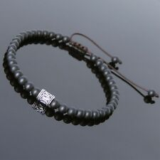 Men's Black Matte Onyx Silver Beaded Braided Macrame Bracelet Adjustable Unisex