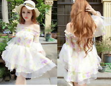 Kawaii Cute Sweet Dolly Gothic Lolita Princess Sleeve Floral Lace Chiffon Dress