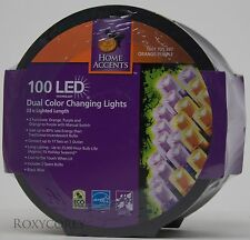Halloween Home Accents 100 LED Orange/Purple Dual Color Changing Lights NIP