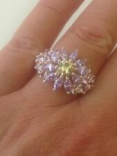 Stunning QVC Sterling Silver Ring  Diamonique  Huge Cluster Size N High Setting