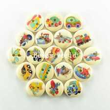 100 Pcs Mixed Transport Pattern 2 Holes Wood Buttons Sewing Scrapbooking 15mm