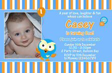 Personalised Giggle and & Hoot Hootabelle Birthday Invitations 1st Photo invites