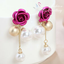18K Gold Plated Simulated Pearl Gorgeous Pink Rose Cluster Drop Stud Earrings