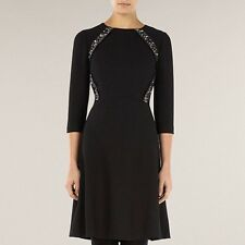 Black Flippy Lace Insert Dress Black Size 12 RRP £129 Box4230 K