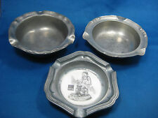 Lot of 3 Antique German Engraved  Pewter Ashtrays one w/ Porcelain inserted Nice