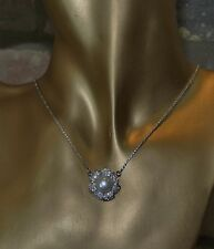 Intricate Sterling Silver Necklace With Lab Created Diamond Petals Pearl Pendant