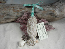 SEAHORSE HANDMADE SAND ORNAMENT BEACH TROPICAL NAUTICAL
