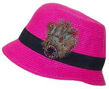 A&W Women's Paper Straw Cloche Hat W/Jewels, Feathers & Band #1073 Pink