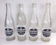 Set (4) Vintage MISSION BEVERAGES 12 oz. Bottles Boonville, MO. Denver, CO