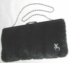 "Black 5.5X10"" XO Faux Fur Evening Clutch Purse w Silvertone Hardware"