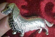 DESIGNER SILVER CRYSTAL LONG HAIR DACHSHUND,DAXI,DOXI,TECKEL WEINER DOG BROOCH