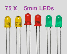 75 X  Assorted Diffused LED Pack, ( Red, Yellow, Green, 25 Each ), ( 5mm )...